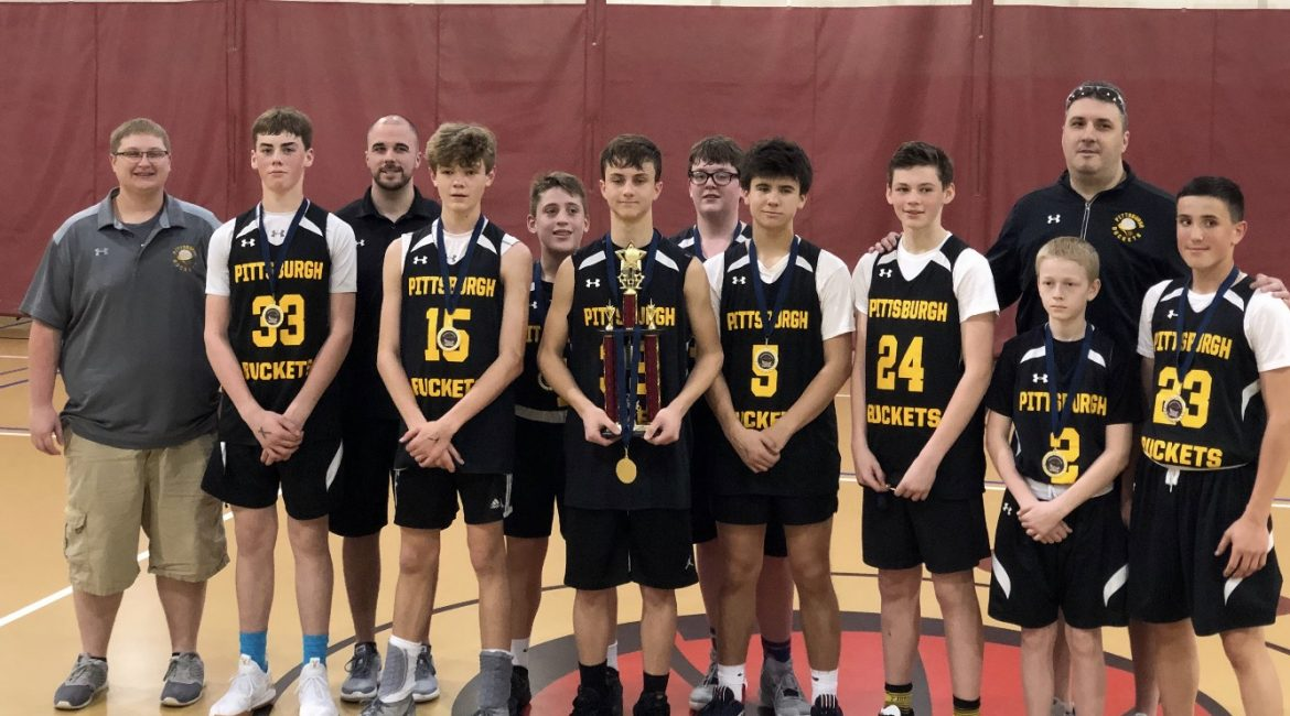 The Pittsburgh Buckets 14 and under boys captured its first tournament played of the Spring beating Elite Youth by double figures to cap off an undefeated weekend at the 2019 T&T Pennsylvania Hoopfest
